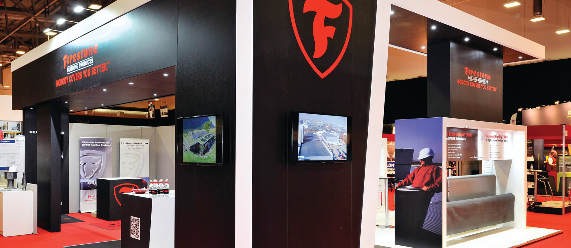 Audio visual equipment in the Firestone exhibition stand