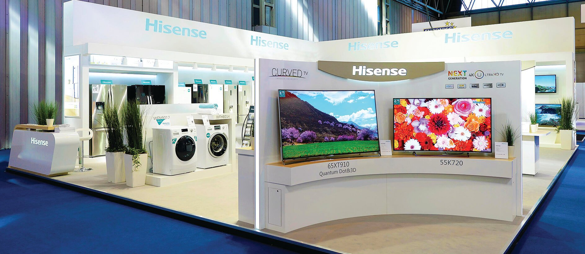 Hisense products displayed professionally at an exhibition