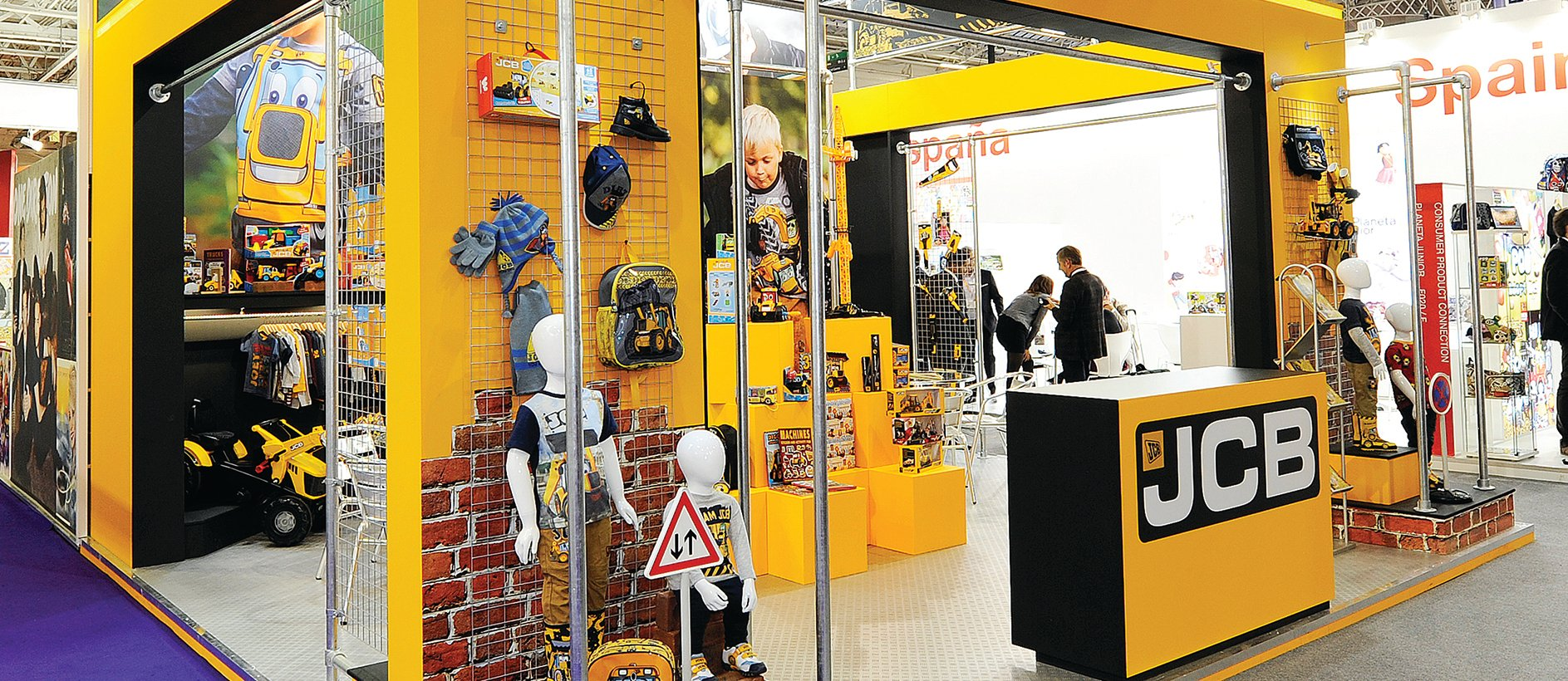 Custom exhibition stand with JCB branding