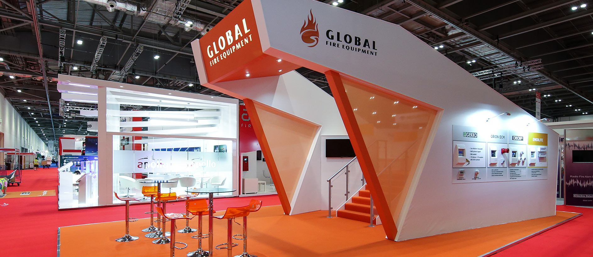 An eye-catching exhibition stand for Global Fire Equipment