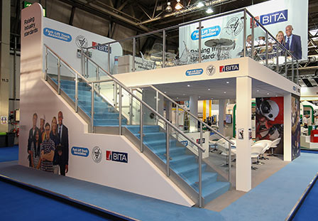 Custom exhibition stand with stairs
