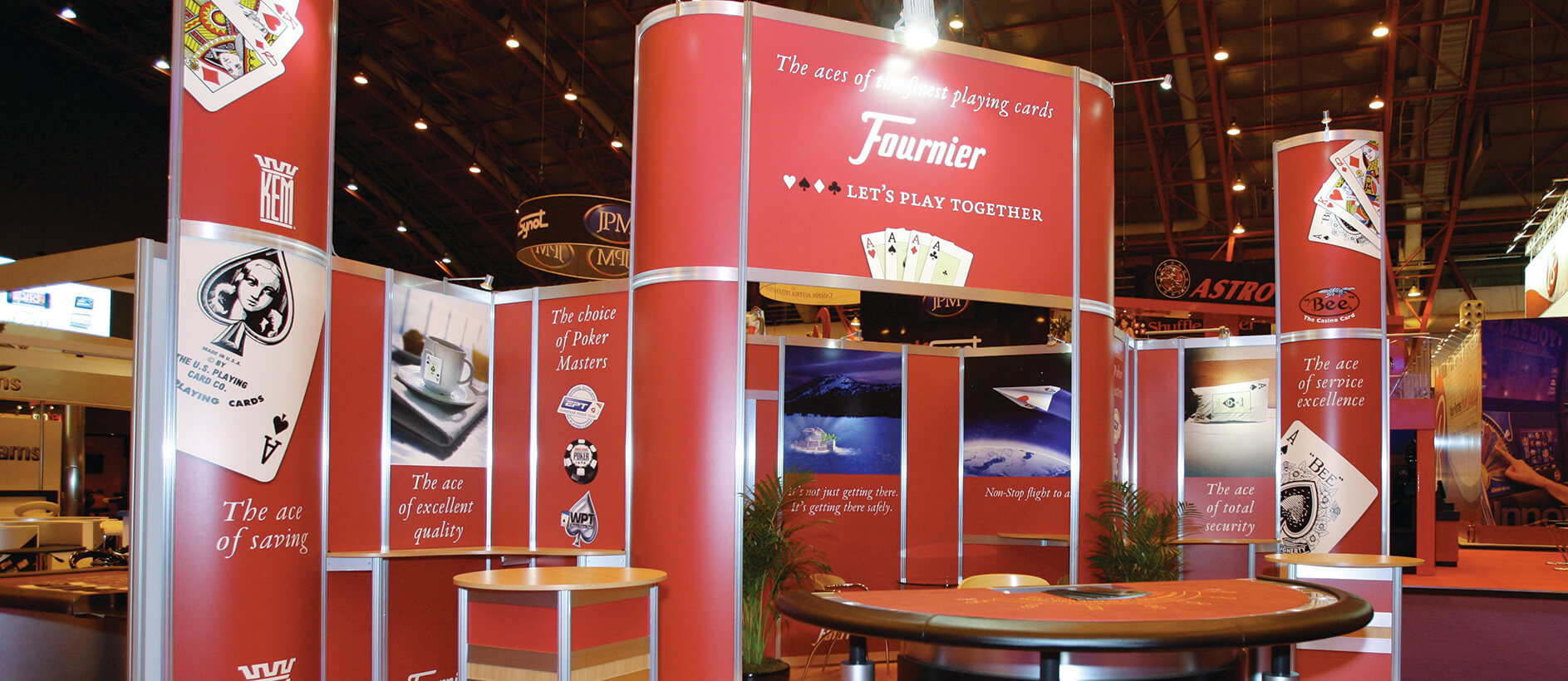 Modular exhibition stand with graphics and branding