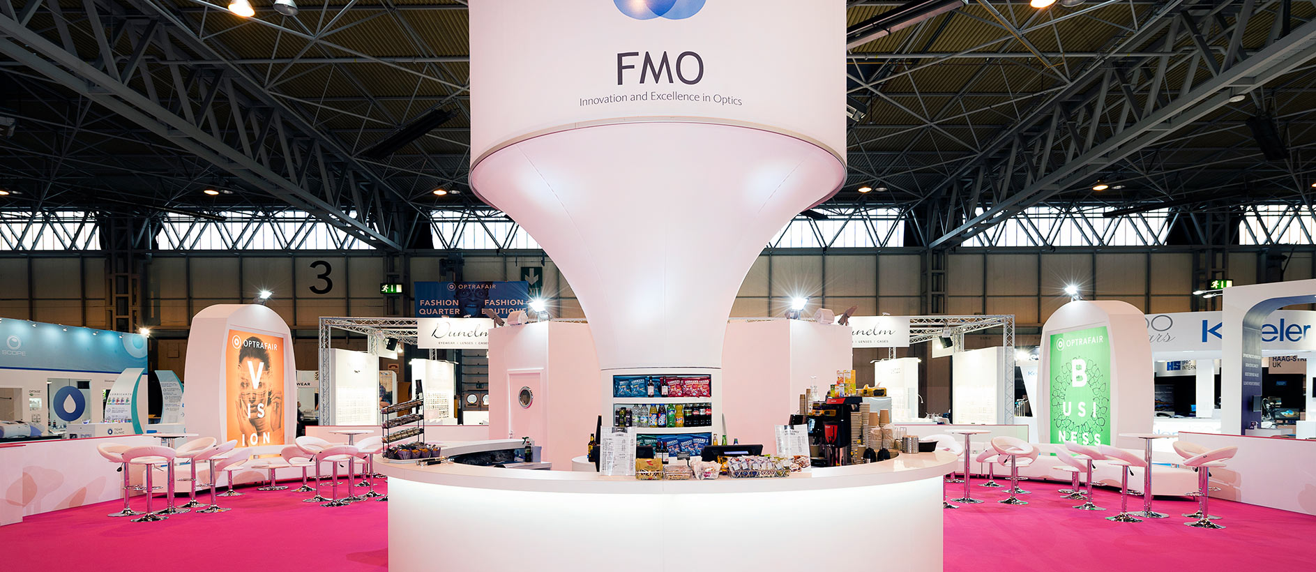 Custom exhibition stand at Optrafair
