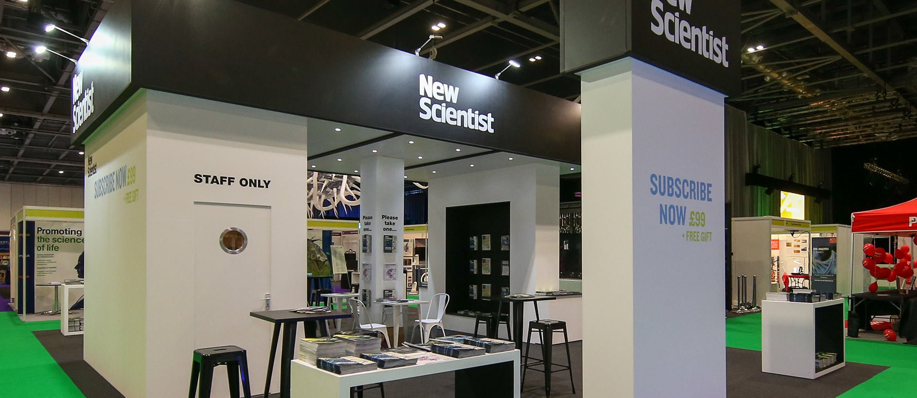 Custom exhibition stand design and build for New Scientist