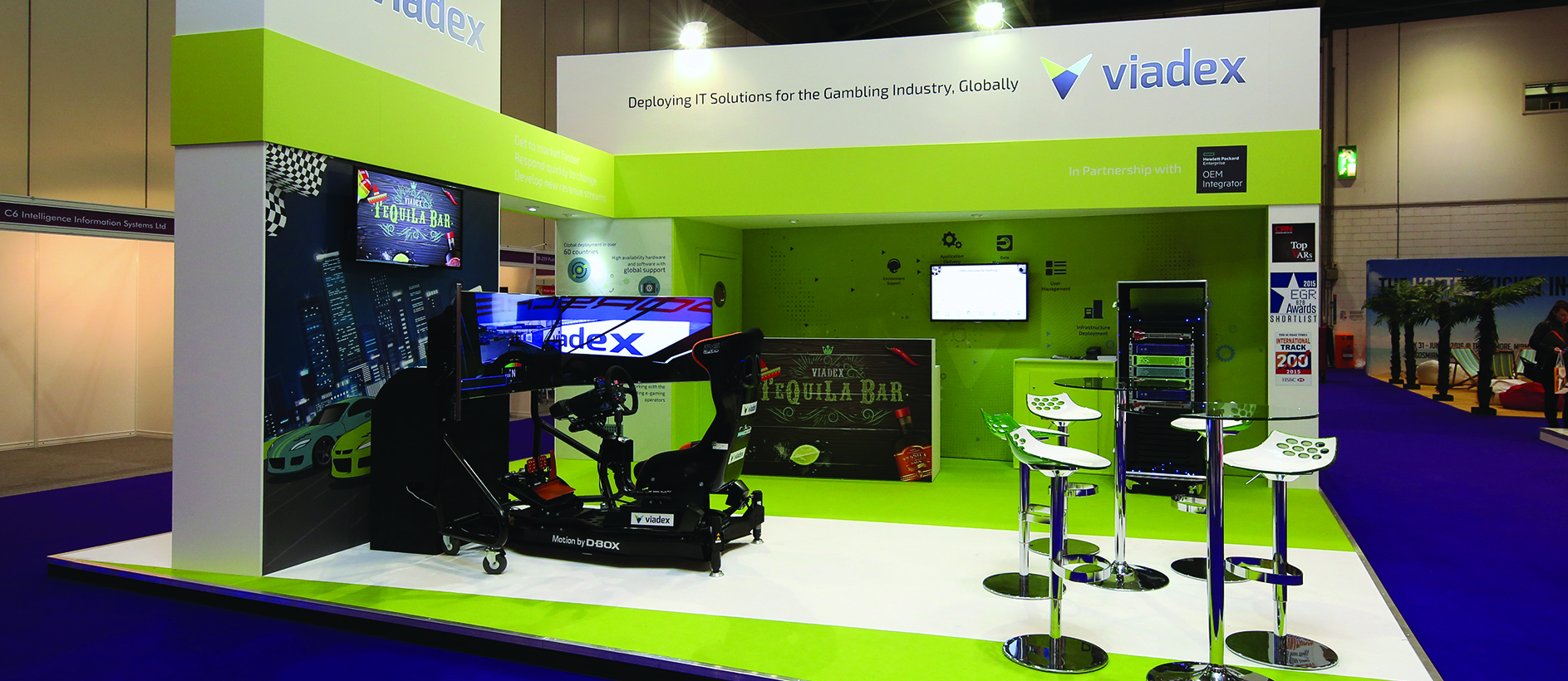 Colourful bespoke stand for Viadex by Exhibit 3Sixty