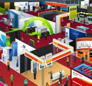 Colour illustration of exhibitions in a event hall